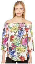 Karen Kane Watercolor Floral Off the Shoulder Top Women's Clothing
