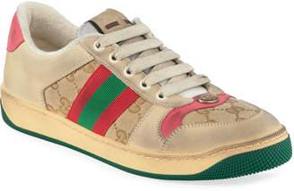 Gucci Screener Distressed Low-Top Sneakers