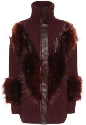 Stella McCartney Faux fur-trimmed wool cardigan