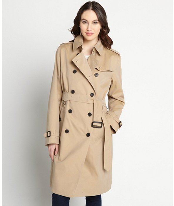Burberry dark honey cotton lady trench coat