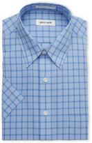 Pierre Cardin Blue Plaid Short Sleeved Dress Shirt