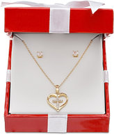 Giani Bernini Cubic Zirconia Heart and Cross Pendant Necklace and Stud Earrings Set in 18k Gold-Plated Sterling Silver, Only at Macy's