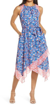Vince Camuto Floral Handkerchief Dress