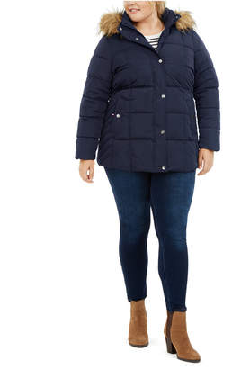 Tommy Hilfiger Plus Size Faux-Fur Trim Hooded Puffer Coat