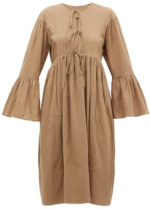 Loup Charmant Minerva Bell-sleeve Cotton Dress - Womens - Brown