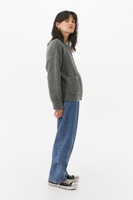 Urban Outfitters Fisherman Pocket Cardigan - Grey XS at