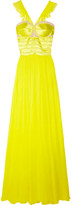 Prabal Gurung Neon mesh-trimmed silk-chiffon and satin gown