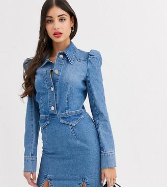 Asos Tall ASOS DESIGN Tall denim mini western shirt dress with puff sleeve