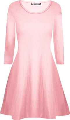 Fashion Star Womens Plain Jersey Flared Party Swing Dresses Grey S/M (UK 8/10)