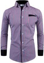 Tom's Ware Mens Premium Slim Fit Checke Plaid Cotton Longsleeve Shirt TWCS15-S