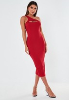 Missguided Red Cut Out One Shoulder Ribbed Midaxi Dress