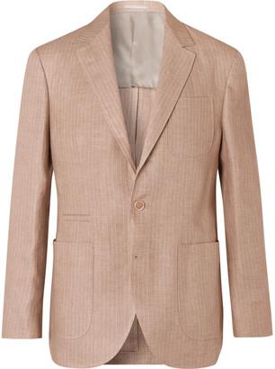 Brunello Cucinelli Pinstriped Linen Suit Jacket