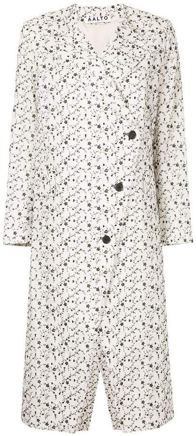 Aalto floral print asymmetric buttoned coat