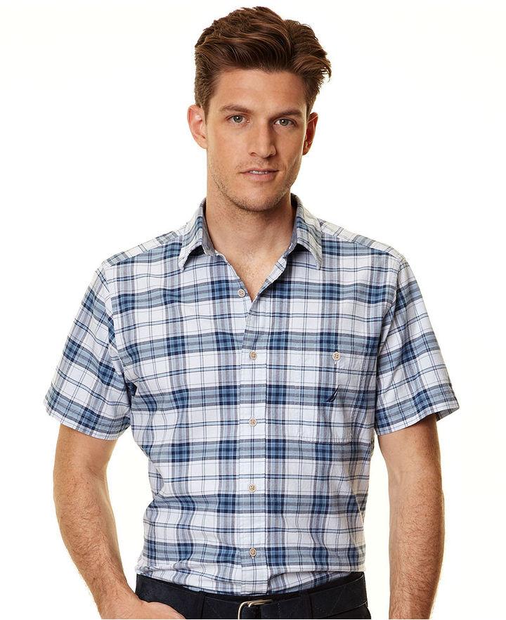 Nautica Shirt, Short Sleeve Plaid Oxford Shirt