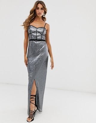 Little Mistress metallic strap maxi dress