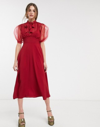 Topshop midi dress with sheer sleeves in berry