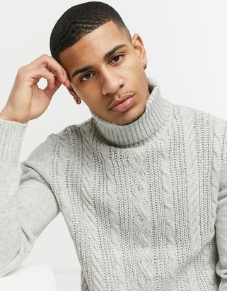 French Connection logo cable wool blend knit roll neck in ecru