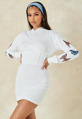 Missguided White Butterfly Sleeve Corset Waist Mini Dress