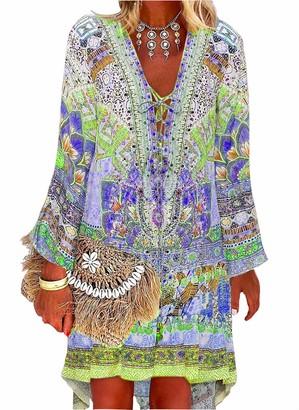 Vera mucca Casual Color Block Bohemia V-Neckline Above Knee A-line Dress (x-Large