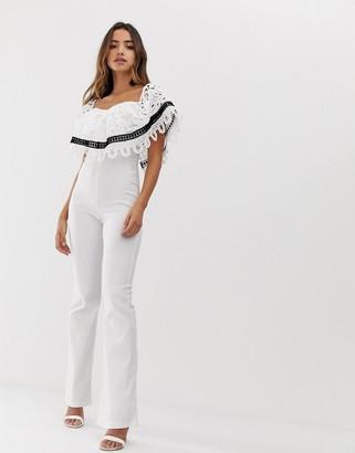 Forever U bardot jumpsuit with crochet lace trim