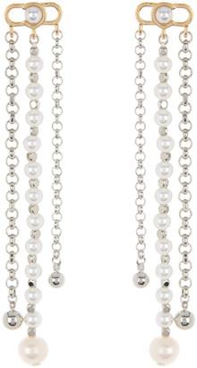 Carolee Two-Tone Linear Chain & Imitation Pearl Drop Chandelier Earrings