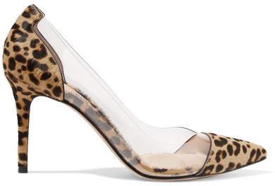 Gianvito Rossi Plexi 85 Leopard-print Calf Hair And Pvc Pumps - Leopard print