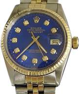 Rolex Stainless Steel/18k Yellow Gold Datejust 16013 Jubilee Blue Diamond Mens Watch