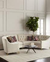 Ambella Jasmine Curved Tufted Sectional, Cream