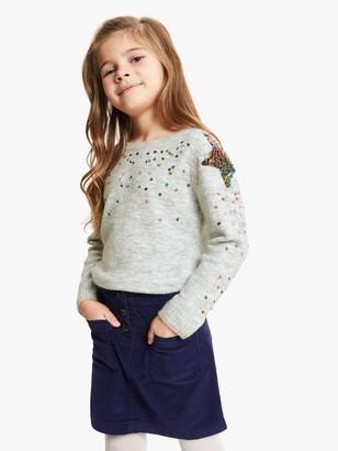 John Lewis & Partners Girls' Sequin Shoulder Star Jumper, Grey