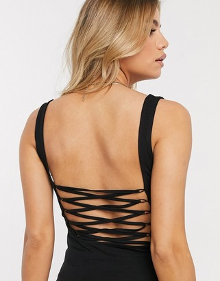 ASOS DESIGN lace up back bodysuit in black