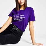 River Island Purple 'You are limited edition' T-shirt