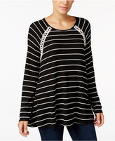 Style&Co. Style & Co. Striped Crochet-Trim Top, Only at Macy's