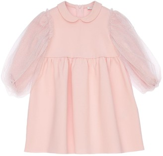 Il Gufo Milano Jersey Dress W/ Tulle Sleeves