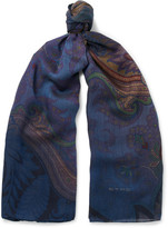 Etro Paisley Wool and Silk-Blend Scarf