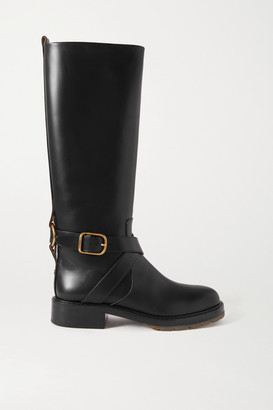 Chloé Diane Buckled Leather Knee Boots - Black