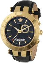Versace Men's 29G70D009 S009 V-RACE Round Yellow Ion-Plated Stainless Steel GMT Alarm Date Watch