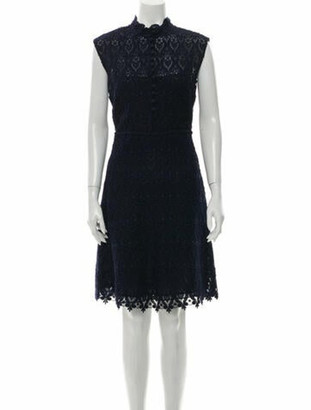 Valentino Lace Pattern Knee-Length Dress Blue