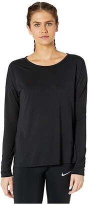Nike Yoga Layer Long Sleeve Top (Black/Dark Smoke Grey) Women's Clothing