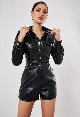 Missguided Black Faux Leather Utility Playsuit