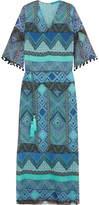 Matthew Williamson Pompom-trimmed Printed Silk-chiffon Coverup - Turquoise