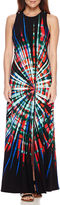 London Times London Style Collection Sleeveless Tie-Dyed Maxi Dress