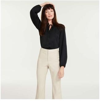 Joe Fresh Women's Snake Satin Blouse, Black (Size XL)