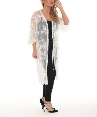 Shoreline Women's Open Cardigans WHITE - White Floral Lace Duster - Women & Plus