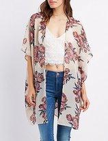 Charlotte Russe Crochet-Trim Floral Kimono