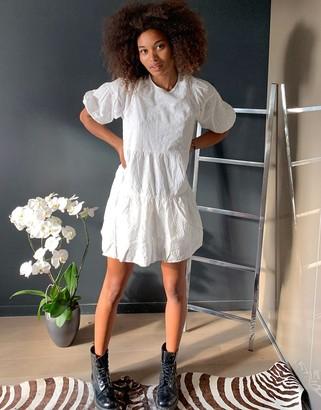 Stradivarius broderie mini dress in white