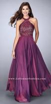 La Femme Lace Racer Back Halter Prom Dress