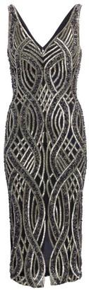 Rachel Gilbert Allover Embellished V-Neck Sheath Dress
