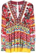 Dolce & Gabbana Embellished Printed Silk Top