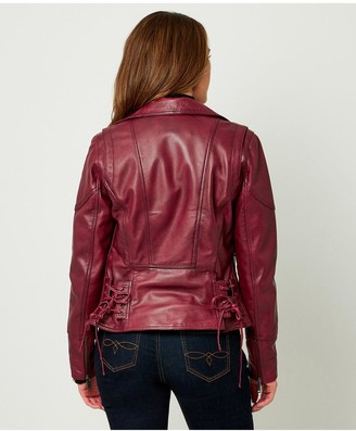 Joe Browns Croc Leather Jacket - Oxblood