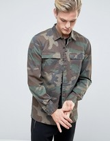 Pull&bear Military Shirt With Double Pockets In Camo